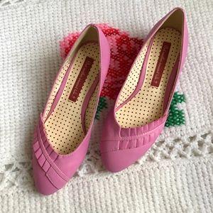 BAIT Footwear Retro Pink Ruffle Wedges